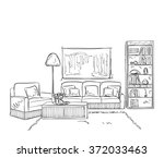 room interior sketch. hand... | Shutterstock .eps vector #372033463