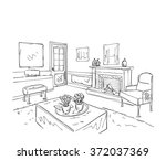 room interior sketch. hand... | Shutterstock .eps vector #372037369