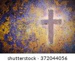 Wooden Cross On Rusty Metal...