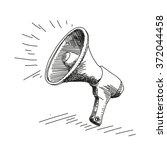 megaphone drawing   Shutterstock .eps vector #372044458