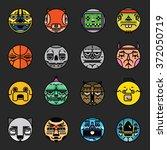 sticker x16 set | Shutterstock .eps vector #372050719