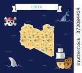 libya treasure map in flat... | Shutterstock .eps vector #372084424