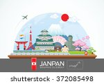 japan infographic travel place... | Shutterstock .eps vector #372085498