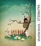 beautiful spring illustration... | Shutterstock . vector #372086794