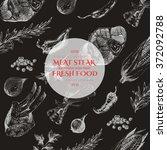 vector meat steak sketch... | Shutterstock .eps vector #372092788