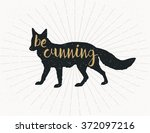 be cunning  dark grey fox... | Shutterstock .eps vector #372097216
