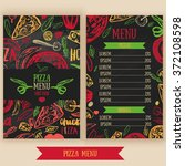 pizza menu with olives  words ... | Shutterstock .eps vector #372108598