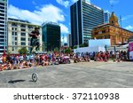 Small photo of AUCKLAND - JAN 30 2016:Street show in Queens Wharf Auckland Waterfront during Auckland Anniversary Day.It's a public holiday marks the arrival of William Hobson (first Governor) to New Zealand in 1840