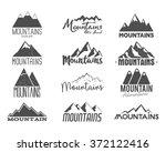 set of hand drawn mountain... | Shutterstock .eps vector #372122416