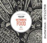 vietnamese food. linear graphic.... | Shutterstock .eps vector #372122908
