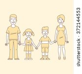 family holding hands and smiling   Shutterstock .eps vector #372144553