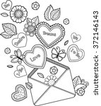 coloring book for adult. with... | Shutterstock .eps vector #372146143