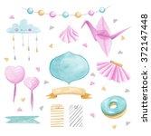 watercolor baby shower set | Shutterstock . vector #372147448