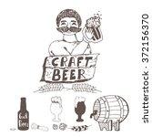 doodle craft beer elements....   Shutterstock .eps vector #372156370