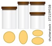 glass jars and labels isolated... | Shutterstock .eps vector #372159538