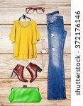 overhead of essentials elegant... | Shutterstock . vector #372176146
