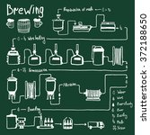 hand drawn beer brewing process ... | Shutterstock . vector #372188650