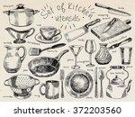 dishes  kitchen utensils  plate ... | Shutterstock .eps vector #372203560