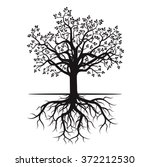 black tree and roots. vector... | Shutterstock .eps vector #372212530