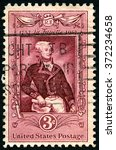 Small photo of UNITED STATES OF AMERICA - CIRCA 1957: A United States Postage Stamp commemorating Marquis Lafayette - a famous General during the American Revolutionary War, circa 1957.