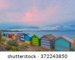 colorful brighton bathing... | Shutterstock . vector #372243850