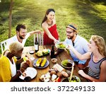 diverse people luncheon food... | Shutterstock . vector #372249133