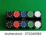 Poker Chips Displayed In A...