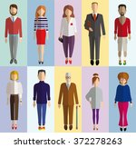 colored flat characters | Shutterstock .eps vector #372278263
