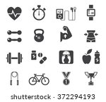 fitness and health icons with... | Shutterstock .eps vector #372294193