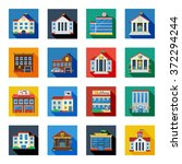 government buildings flat icons ... | Shutterstock .eps vector #372294244