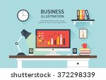 vector business flat... | Shutterstock .eps vector #372298339
