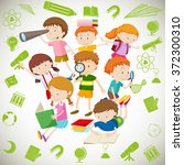 group of children reading and... | Shutterstock .eps vector #372300310