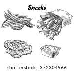snacks. french fries  potato... | Shutterstock .eps vector #372304966