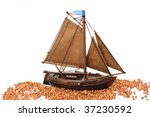 Wooden Small Ship Isolated On...