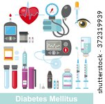 diabetes flat icon set isolated    Shutterstock .eps vector #372319939