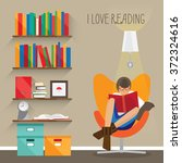 woman who really loves reading... | Shutterstock .eps vector #372324616