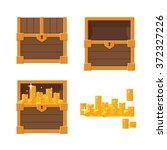 set of wooden chests on white... | Shutterstock .eps vector #372327226