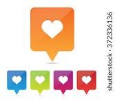 long shadow heart or love pins | Shutterstock .eps vector #372336136