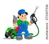worker with water blaster... | Shutterstock .eps vector #372347536