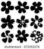 set of grunge flower shapes