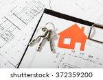 model house on construction... | Shutterstock . vector #372359200