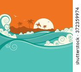 seaside background with blue... | Shutterstock .eps vector #372359974
