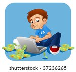 young kid operating his laptop...   Shutterstock . vector #37236265