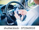 businessman and hold phone in... | Shutterstock . vector #372363010