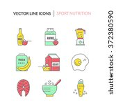 gym and workout diet symbols... | Shutterstock .eps vector #372380590