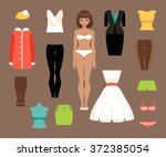 illustration of a paper doll... | Shutterstock .eps vector #372385054