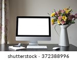 workspace with computer at home ... | Shutterstock . vector #372388996