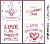 happy valentine s day set  ... | Shutterstock .eps vector #372416953