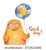 chicken with balloon sun. good... | Shutterstock . vector #372421000