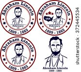 abraham lincoln stamps.... | Shutterstock .eps vector #372445534